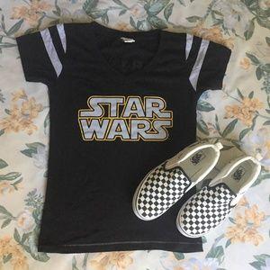 Black & Yellow Star Wars Baseball V-Neck T-Shirt